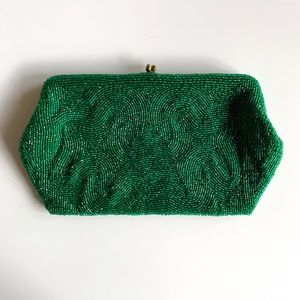 Vintage Made in Belgium Emerald Beaded Clutch